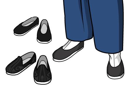 便装配布鞋最常见不过了,洒鞋(图下方)也是不错的选择