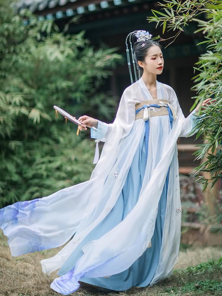 【齐胸襦裙】原创传统汉服女装唐制刺绣高腰齐胸襦裙日常春夏装