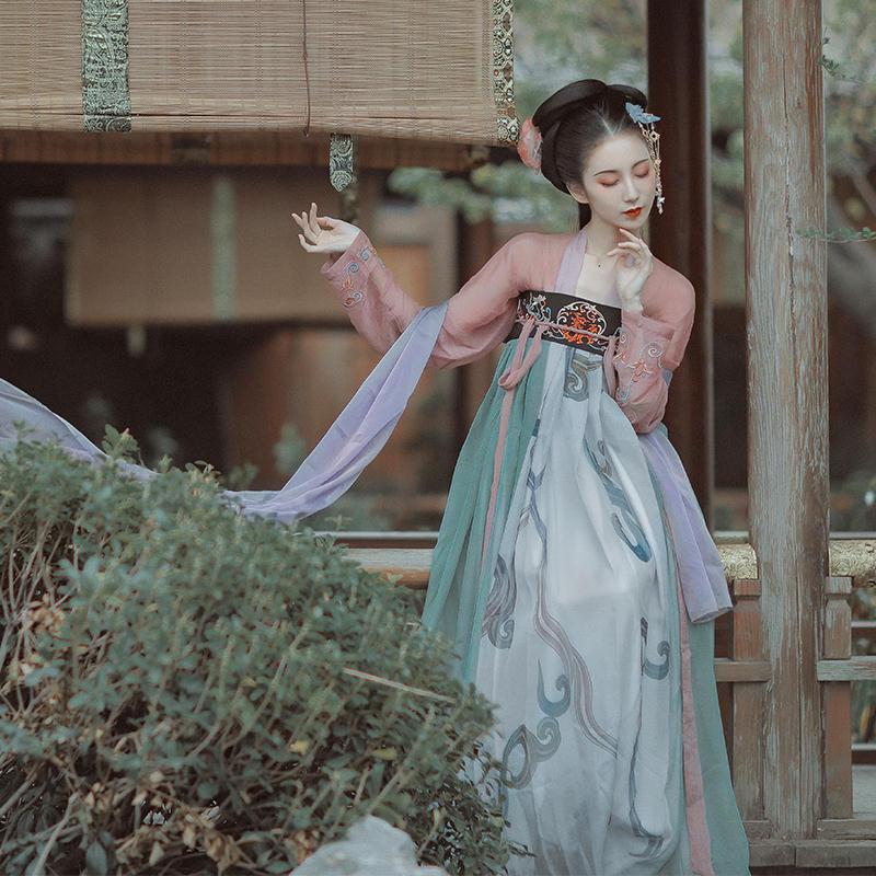 【齐胸襦裙】都城南庄汉服原创拼色汉服襦裙两件套装
