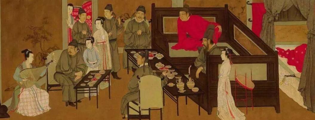 《韩熙载夜宴图》,可见当时官员服饰特征